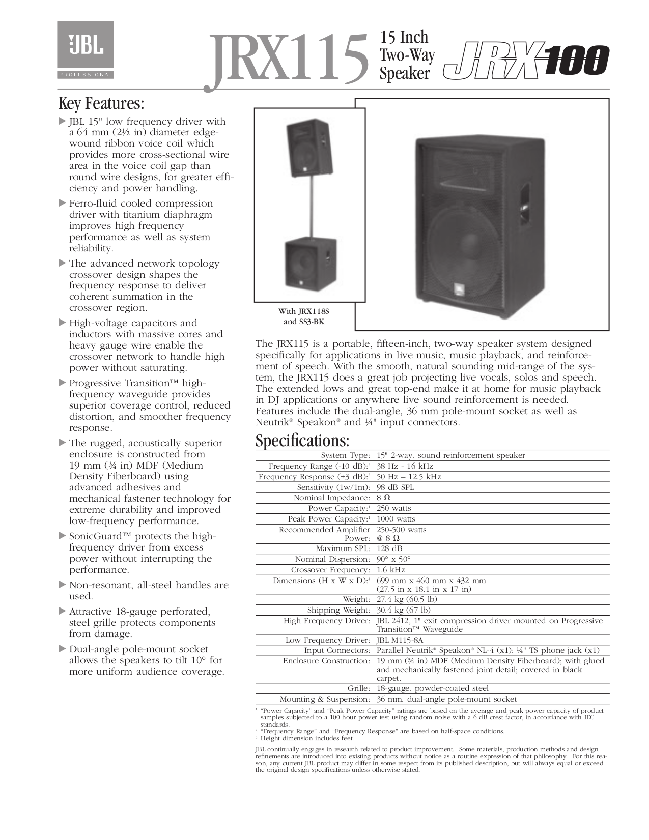 PDF manual for JBL Speaker TS 1