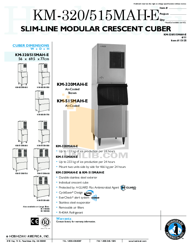 PDF manual for Hoshizaki Other KM-515MAH Cuber Machines