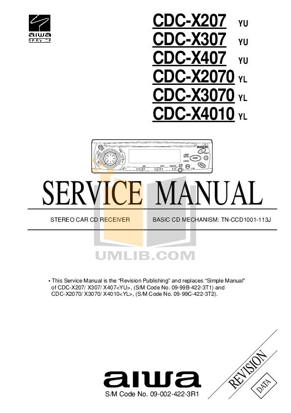 Download free pdf for Aiwa CDC-X407 Receiver manual