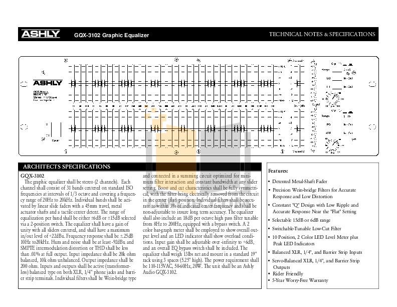 Download free pdf for Ashly GQX-3102 Graphic Equalizer
