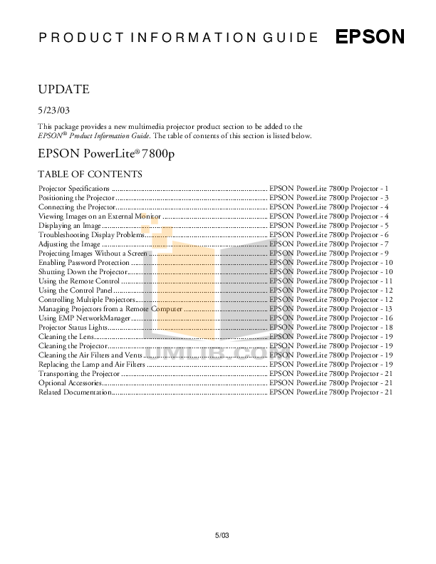 Download free pdf for Epson PowerLite 7850p Projector manual