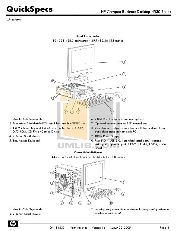 Download free pdf for HP Compaq d530 SFF Desktop manual