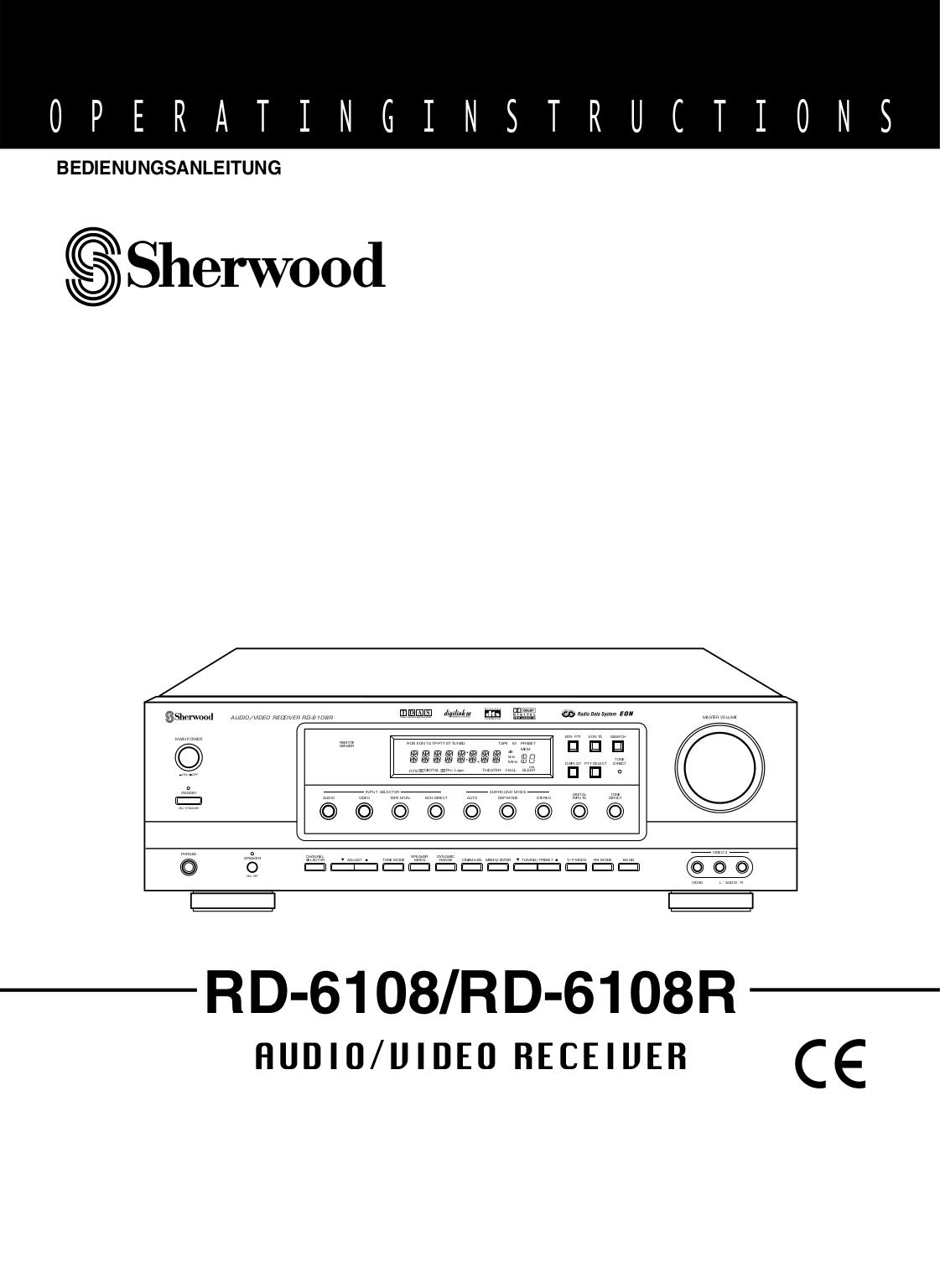 Download free pdf for Sherwood RD-6108 Receiver manual