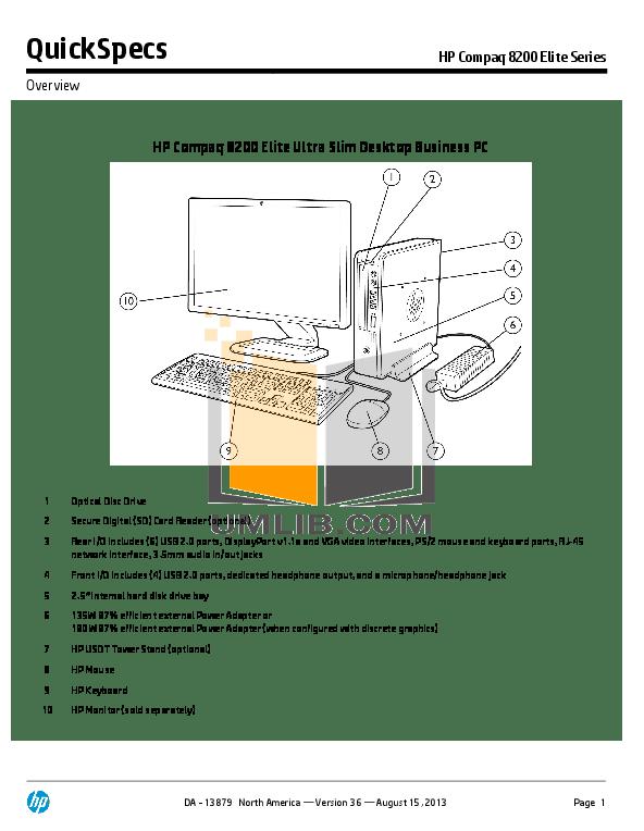 Download free pdf for HP Compaq Elite 8200 CMT Desktop manual