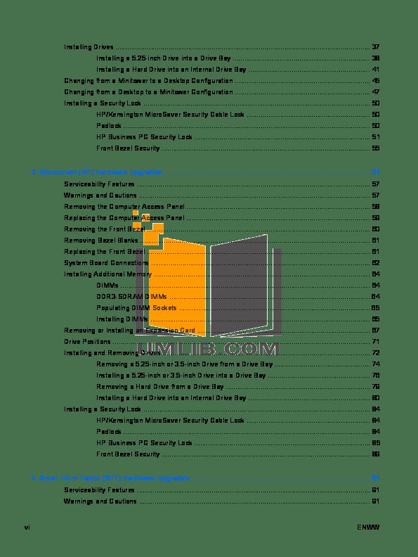 PDF manual for HP Desktop Compaq Elite 8200 CMT