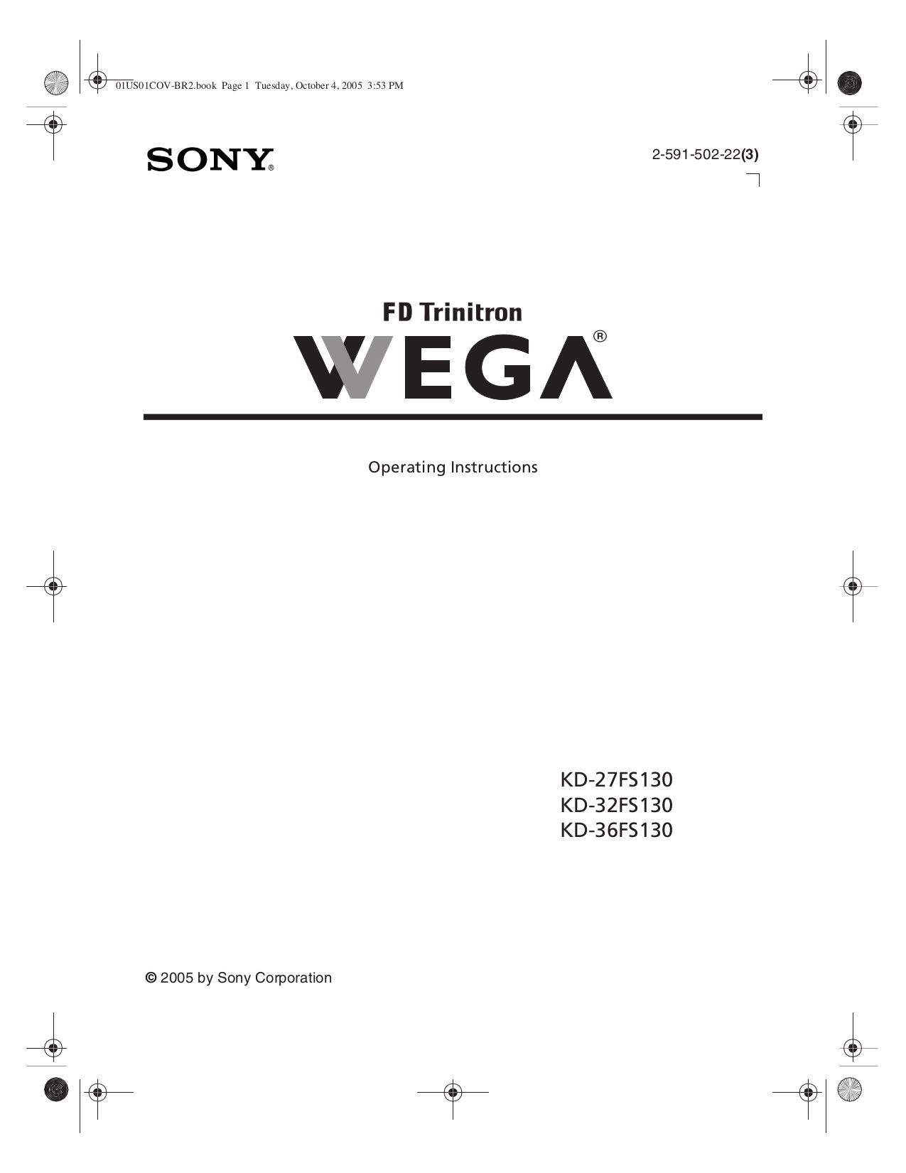 Download free pdf for Sony WEGA KD-36FS130 TV manual
