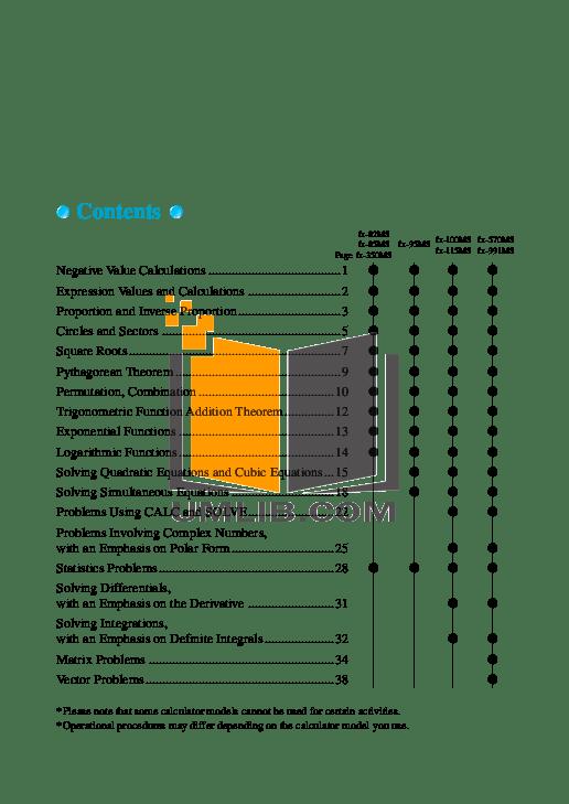 PDF manual for Casio Calculator fx-100MS