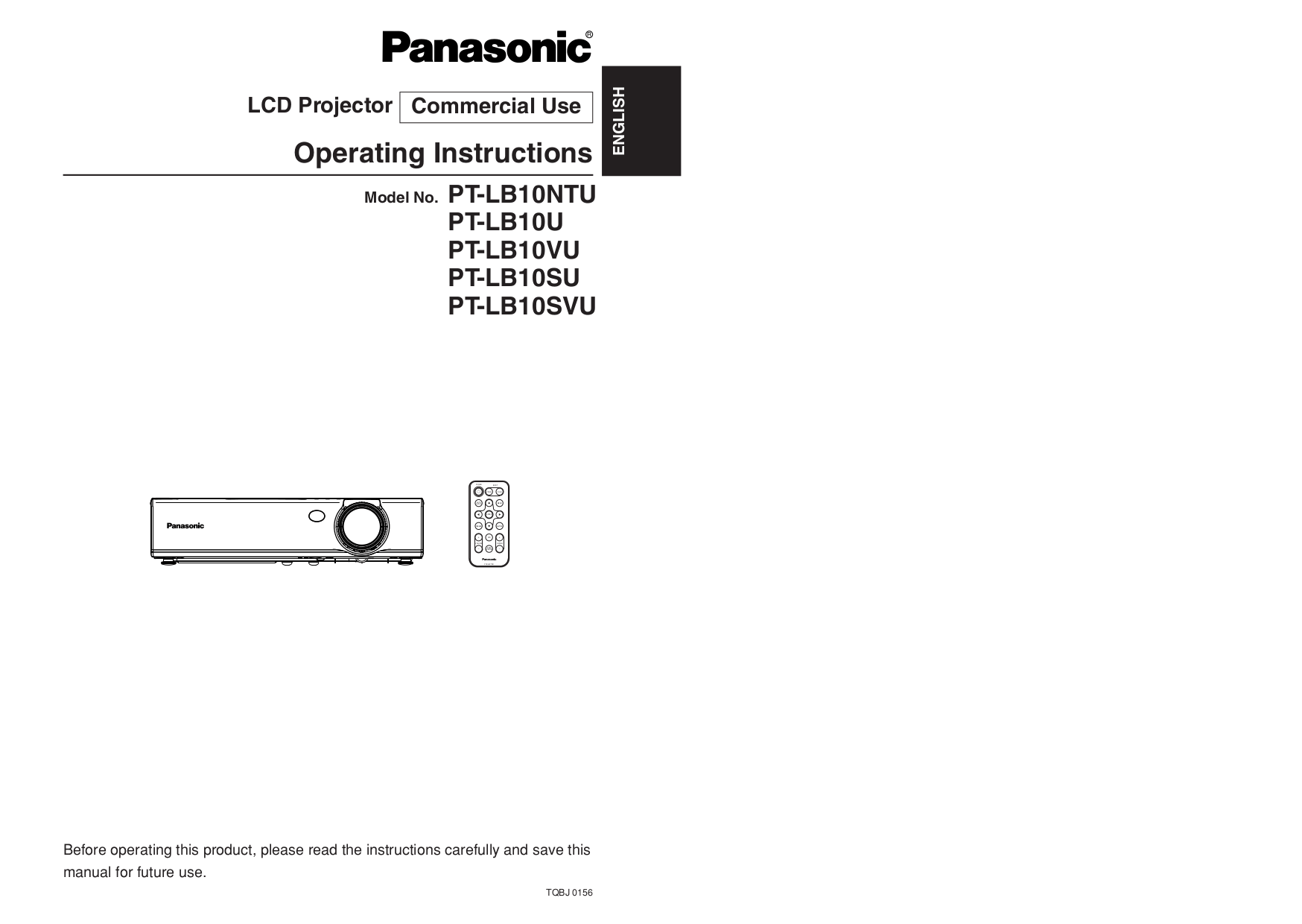 Download free pdf for Panasonic PT-LB10SVU Projector manual