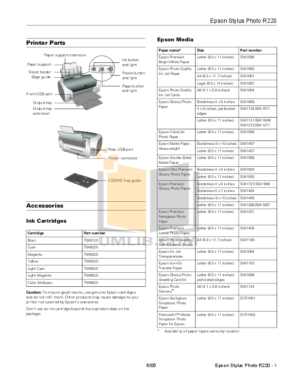 Download free pdf for Epson Stylus Photo R220 Printer manual
