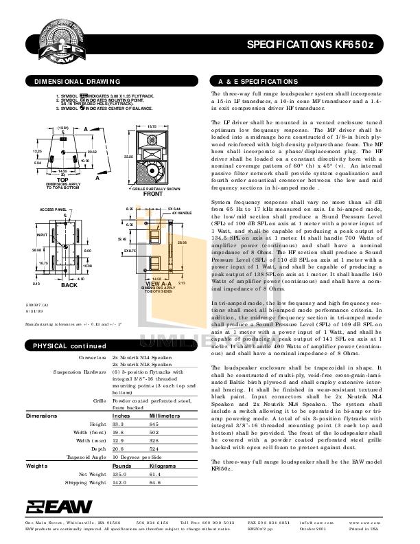 PDF manual for Eaw Speaker KF650z