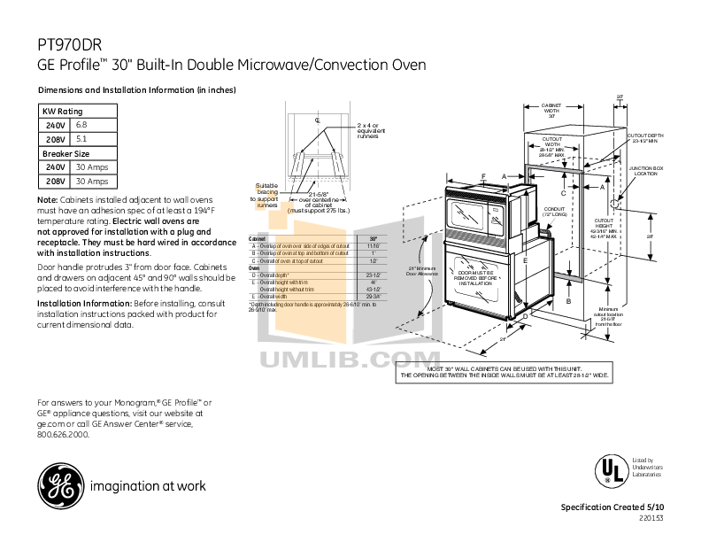 Download free pdf for GE Profile PT970 Oven manual