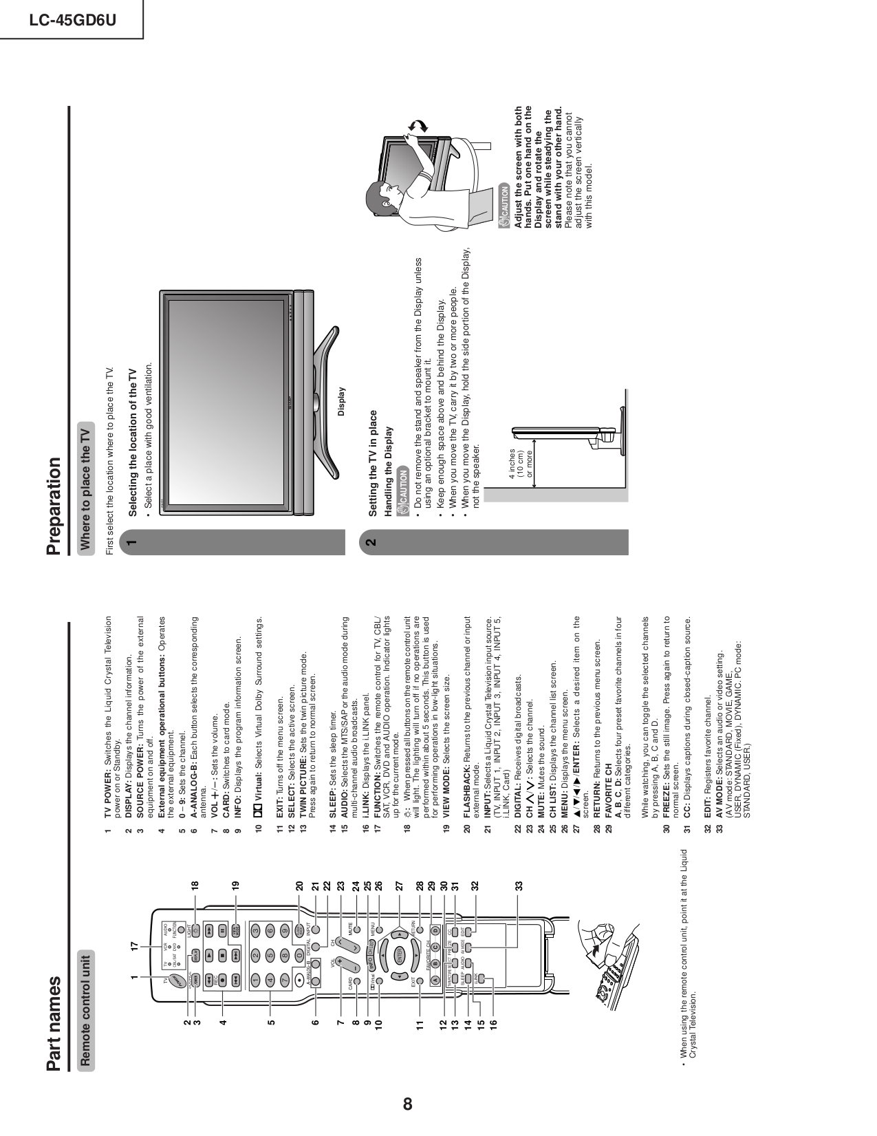 PDF manual for Sharp TV AQUOS LC-45GD6U