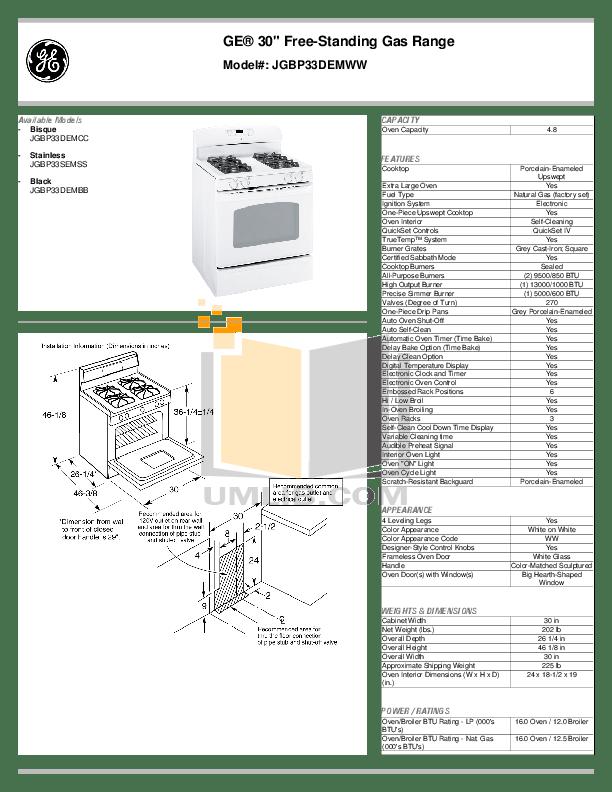 Download free pdf for GE JGBP33DEM Range manual