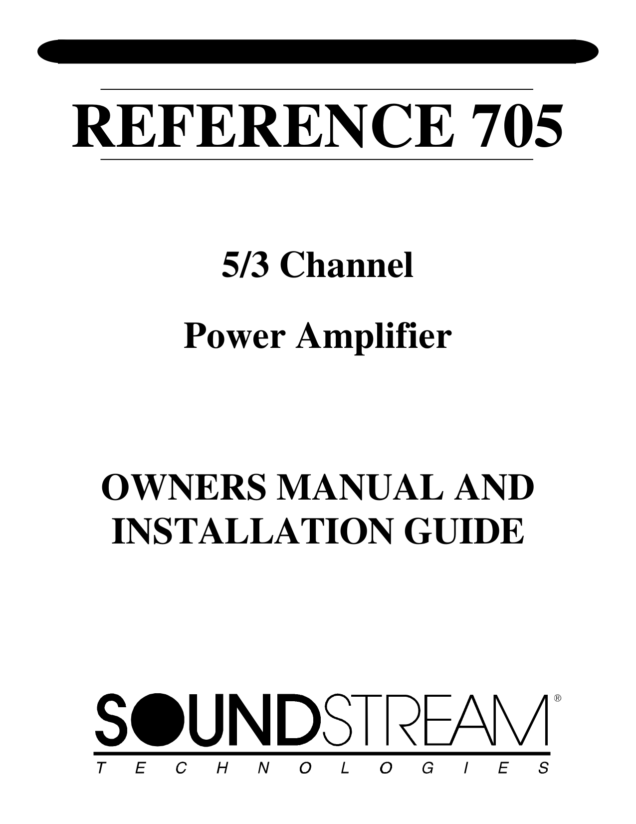 Download free pdf for Soundstream Reference Series 300 Car