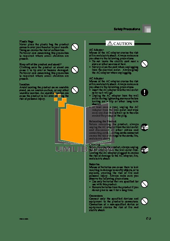 PDF manual for Casio Music Keyboard WK-1800