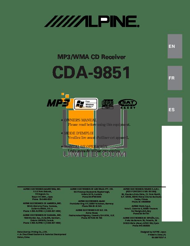 Download free pdf for Alpine CDA-9851 Car Receiver manual