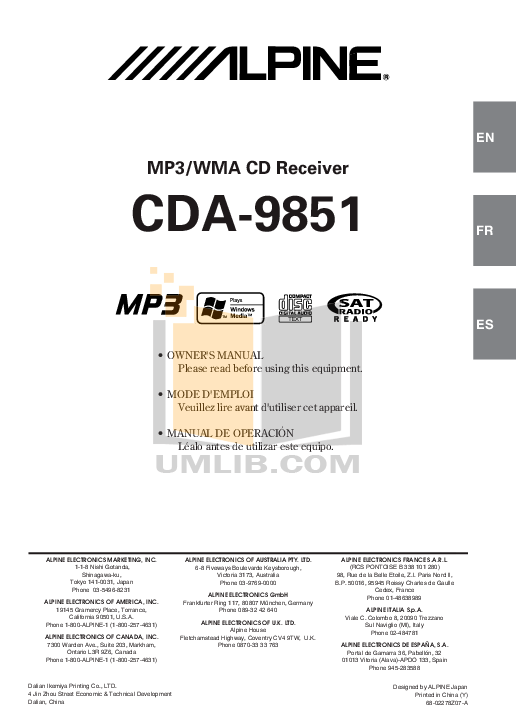 Download free pdf for Alpine CDA-9851 Car Receiver manual