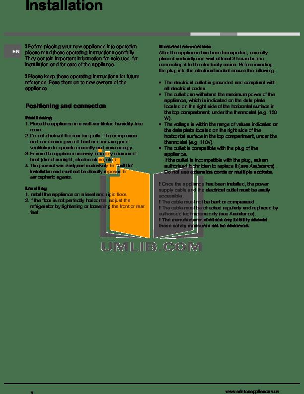 PDF manual for Ariston Refrigerator BDR190NA