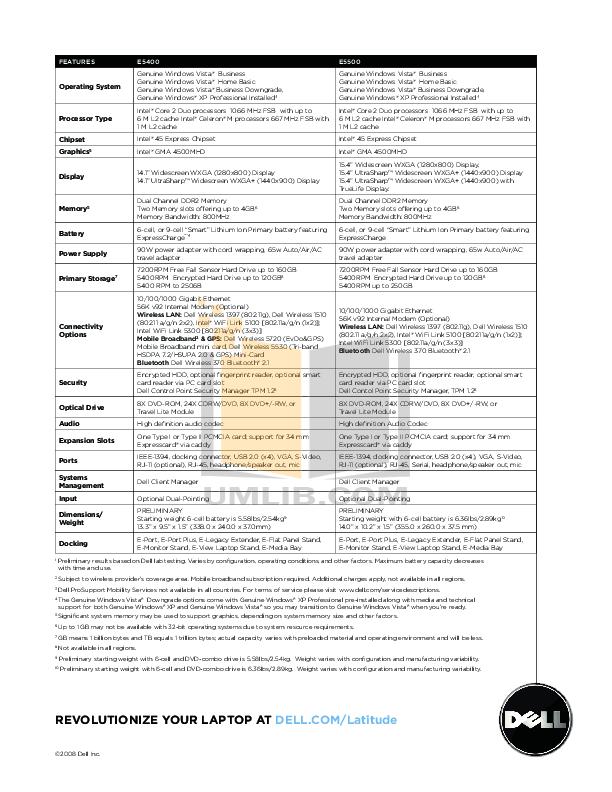 PDF manual for Dell Laptop Latitude E5400