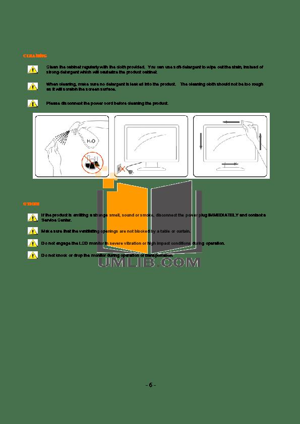 PDF manual for AOC Monitor 2036S