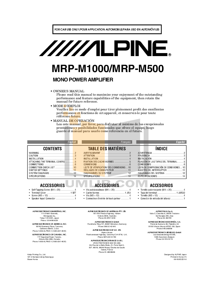 Download free pdf for Alpine MRP-M500 Car Amplifier manual