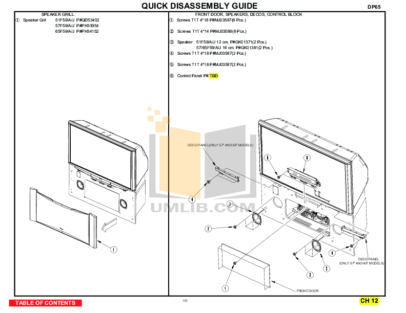 Download free pdf for Hitachi 51F59A TV manual