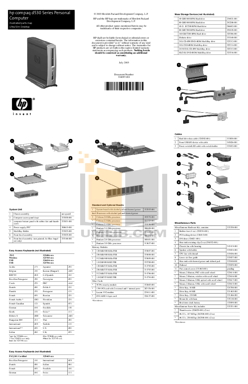 Download free pdf for HP Compaq d530 USDT Desktop manual