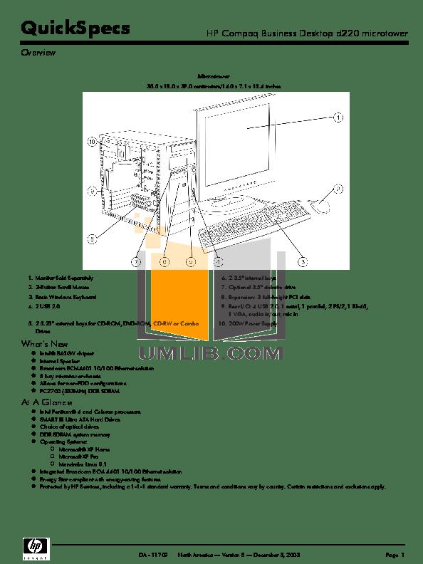 Download free pdf for HP Compaq d230 MT Desktop manual