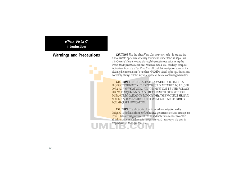 PDF manual for Garmin GPS eTrex Vista Cx