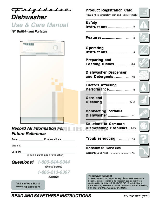 Download free pdf for Frigidaire FPHD2491KF Dishwasher manual