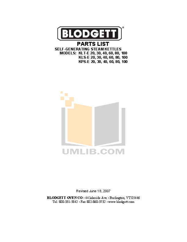 Download free pdf for Blodgett KLS-40DS Kettles Other manual