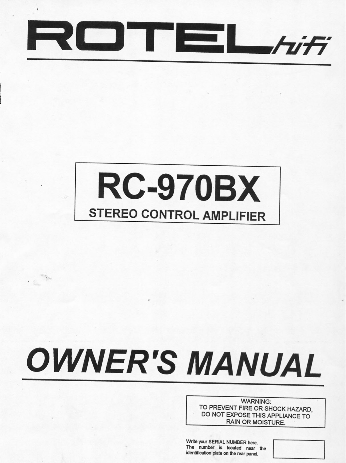 Download free pdf for Rotel RC-970BX Amp manual