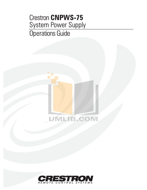 Download free pdf for Crestron CNPWS-75 Power Supply Other