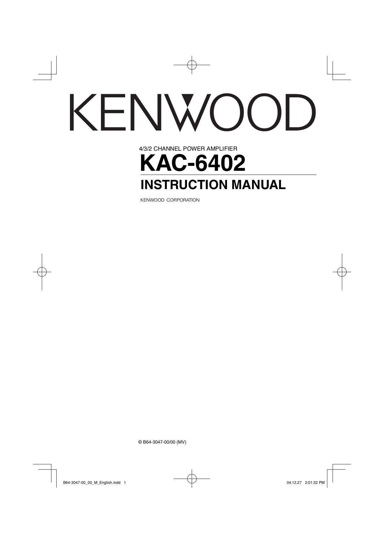 Download free pdf for Kenwood KAC-6402 Car Amplifier manual