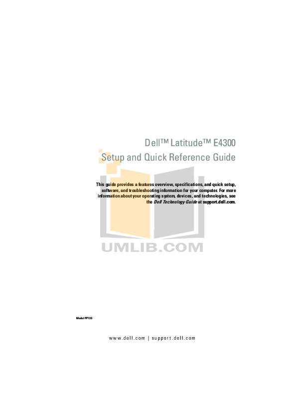 Download free pdf for Dell Latitude E4300 Laptop manual
