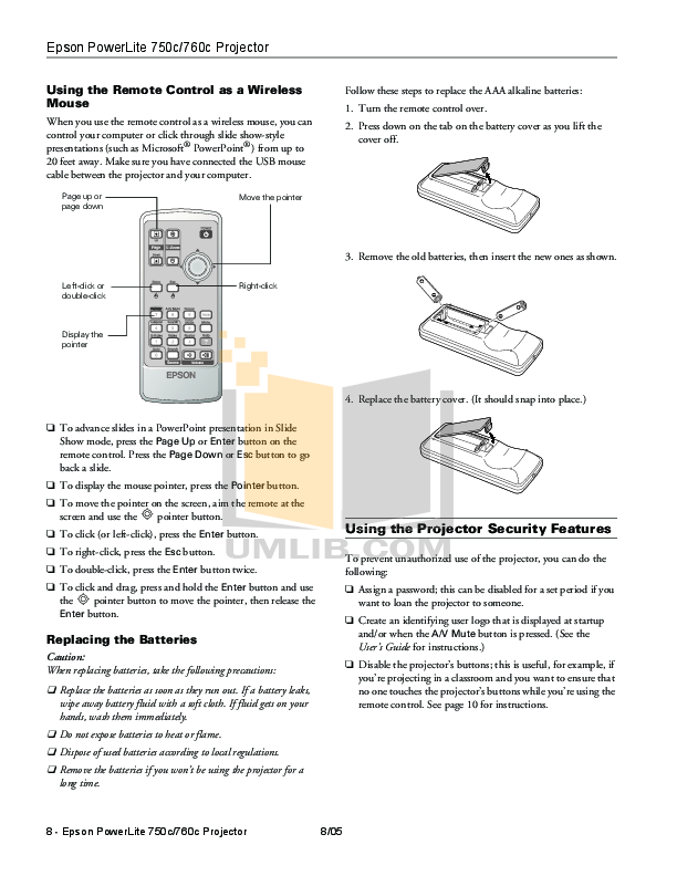 PDF manual for Epson Projector PowerLite 750c