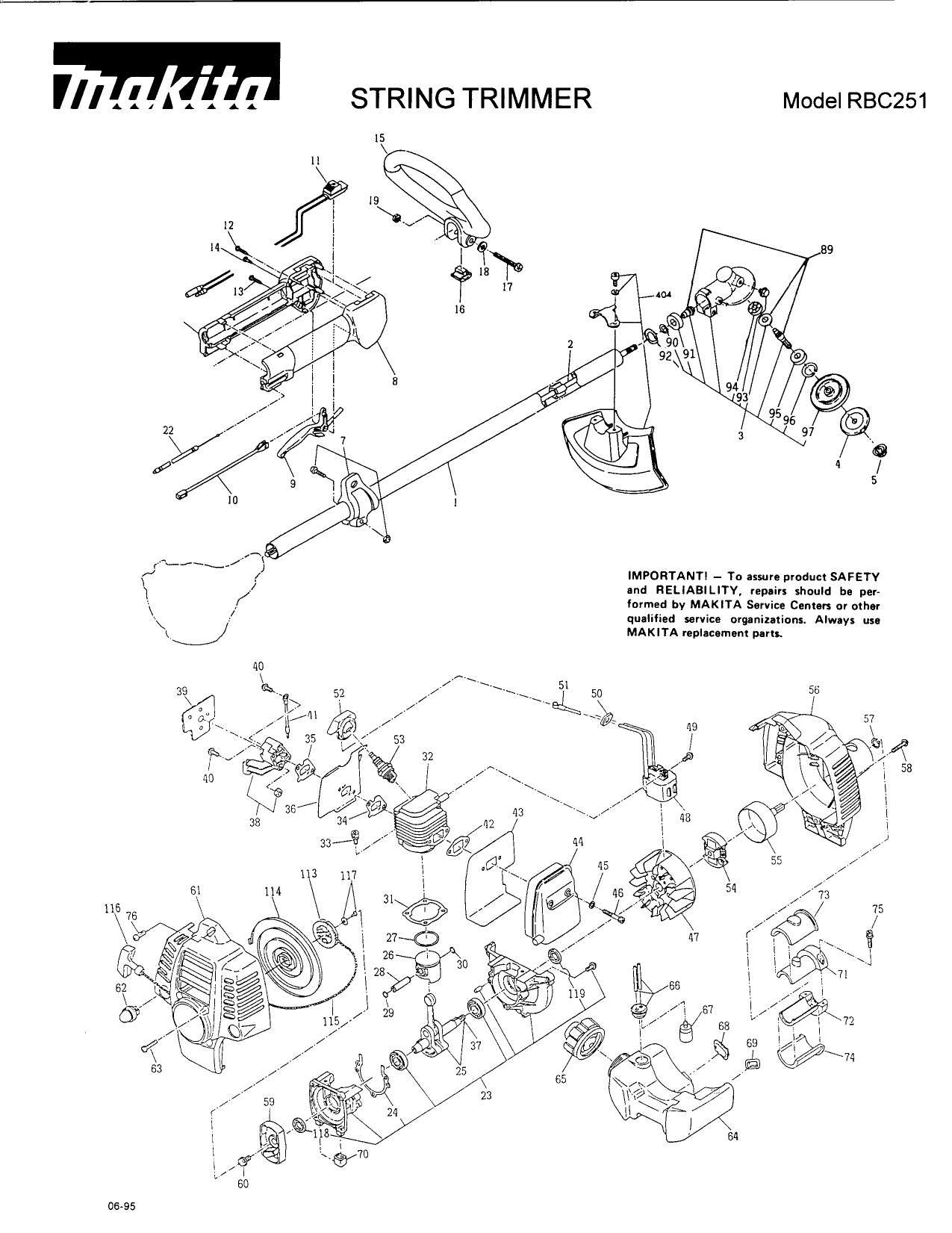 Download free pdf for Makita RBC2510 String Trimmer Other