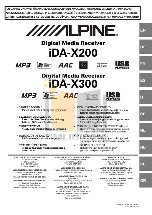 Download free pdf for Alpine IDA-X200 Car Receiver manual