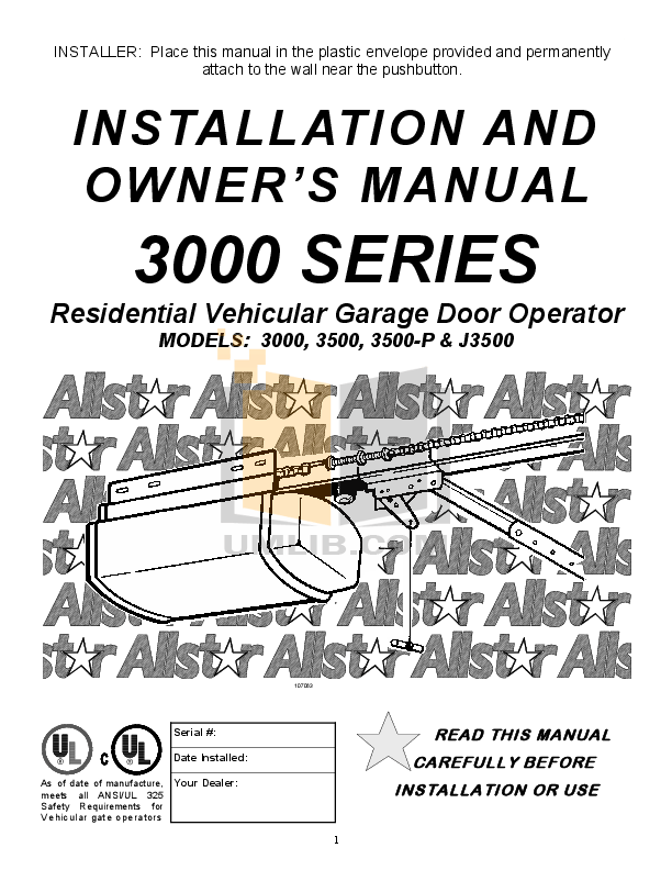Download free pdf for Chamberlain 3500 Garage Door Openers