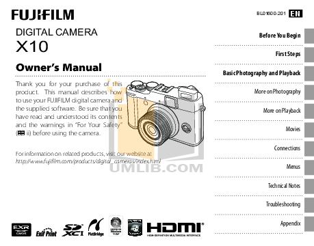FUJI X10 BEDIENUNGSANLEITUNG PDF