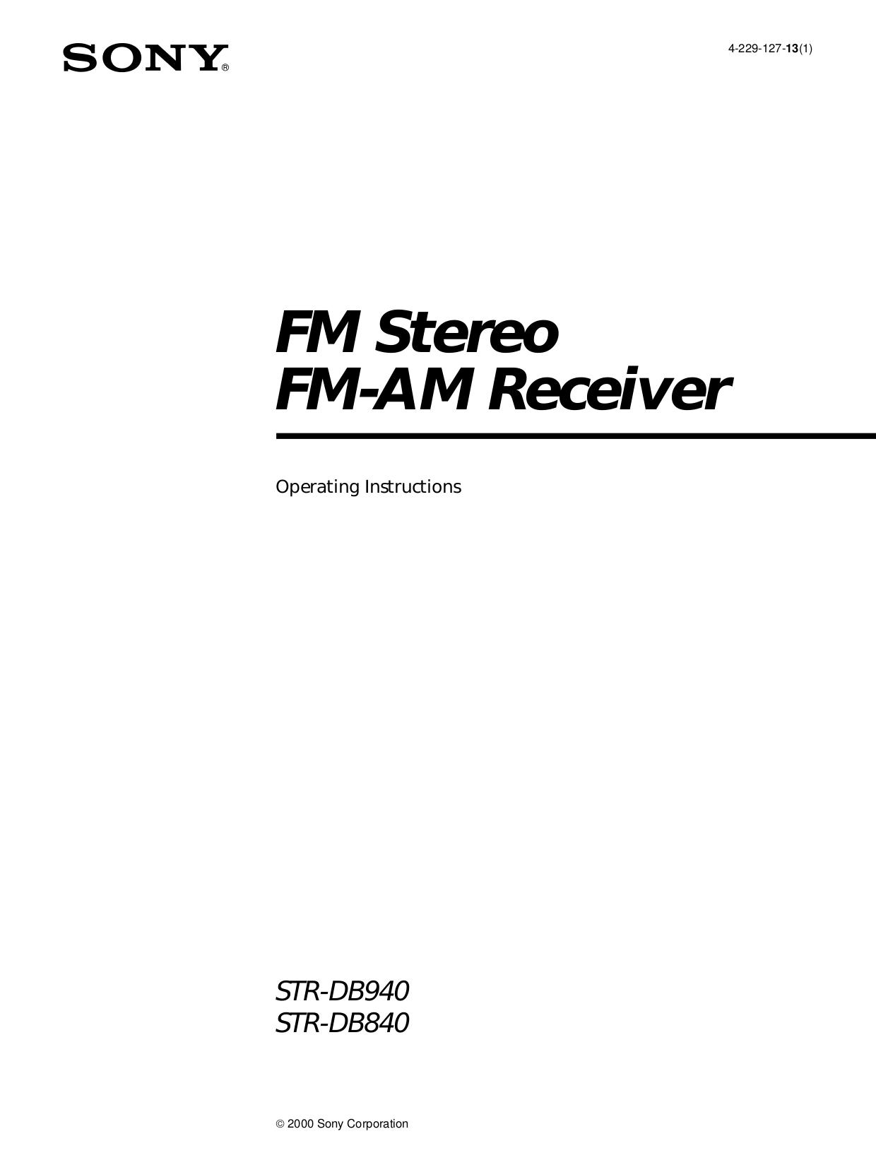 Download free pdf for Sony STR-DB940 Receiver manual