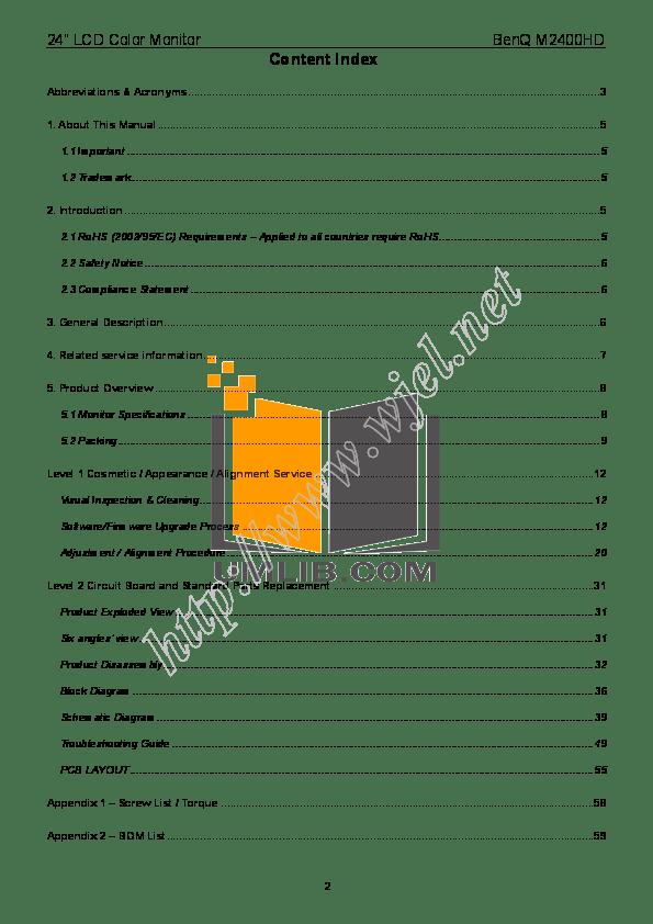 PDF manual for Benq Monitor M2400HD