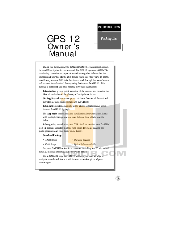 PDF manual for Garmin GPS GPS 12 MAP