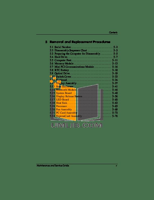 PDF manual for HP Laptop Compaq Presario,Presario V5201