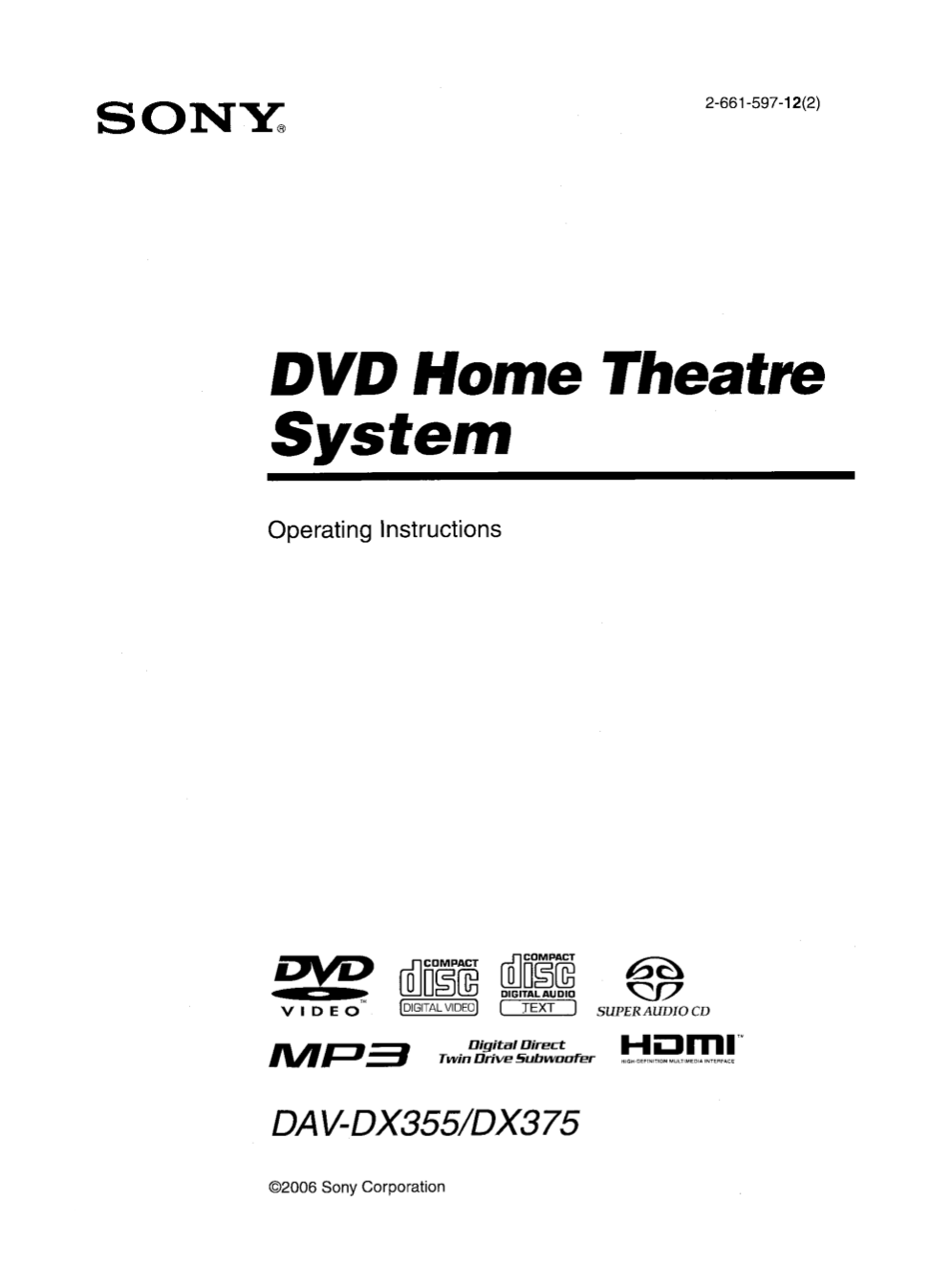 Download free pdf for Sony DAV-DX375 Home Theater manual