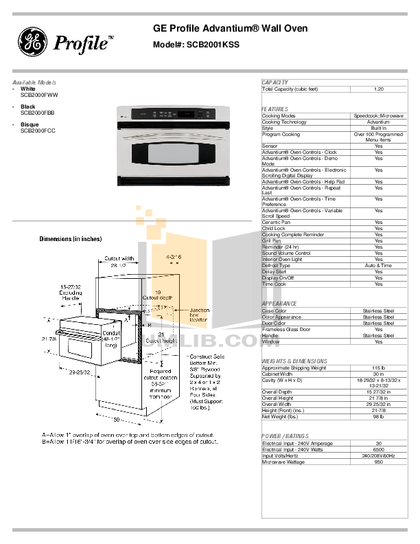 PDF manual for GE Oven Profile Advantium SCB2001KSS