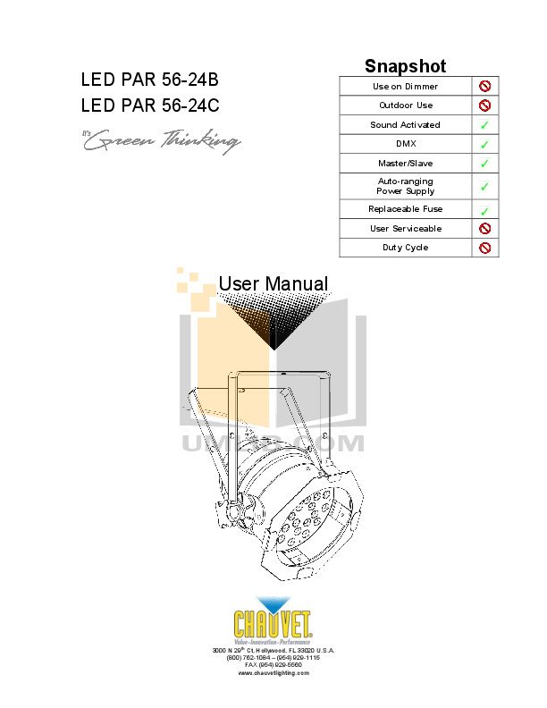 Download free pdf for Chauvet LEDrain 56 Light Fixtures