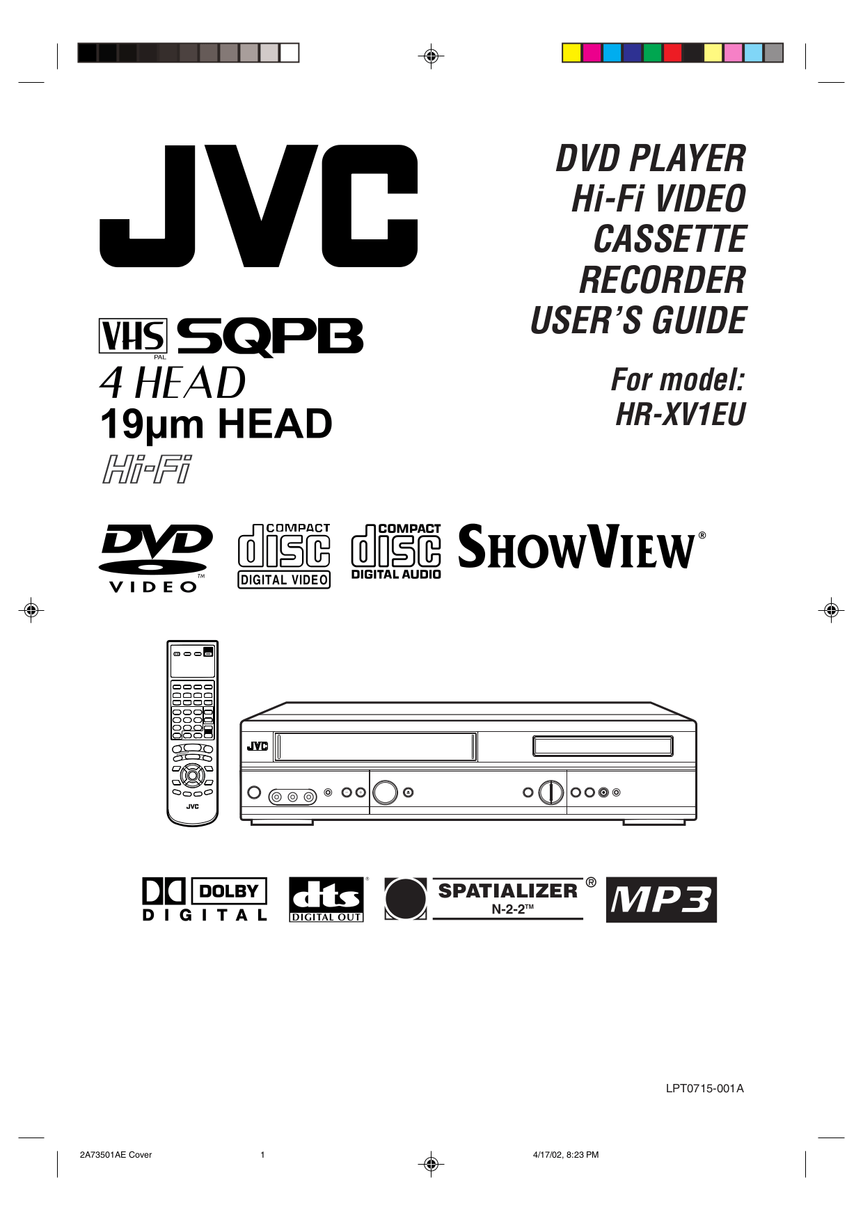 Download free pdf for JVC HR-XV1EU-S DVD Players manual