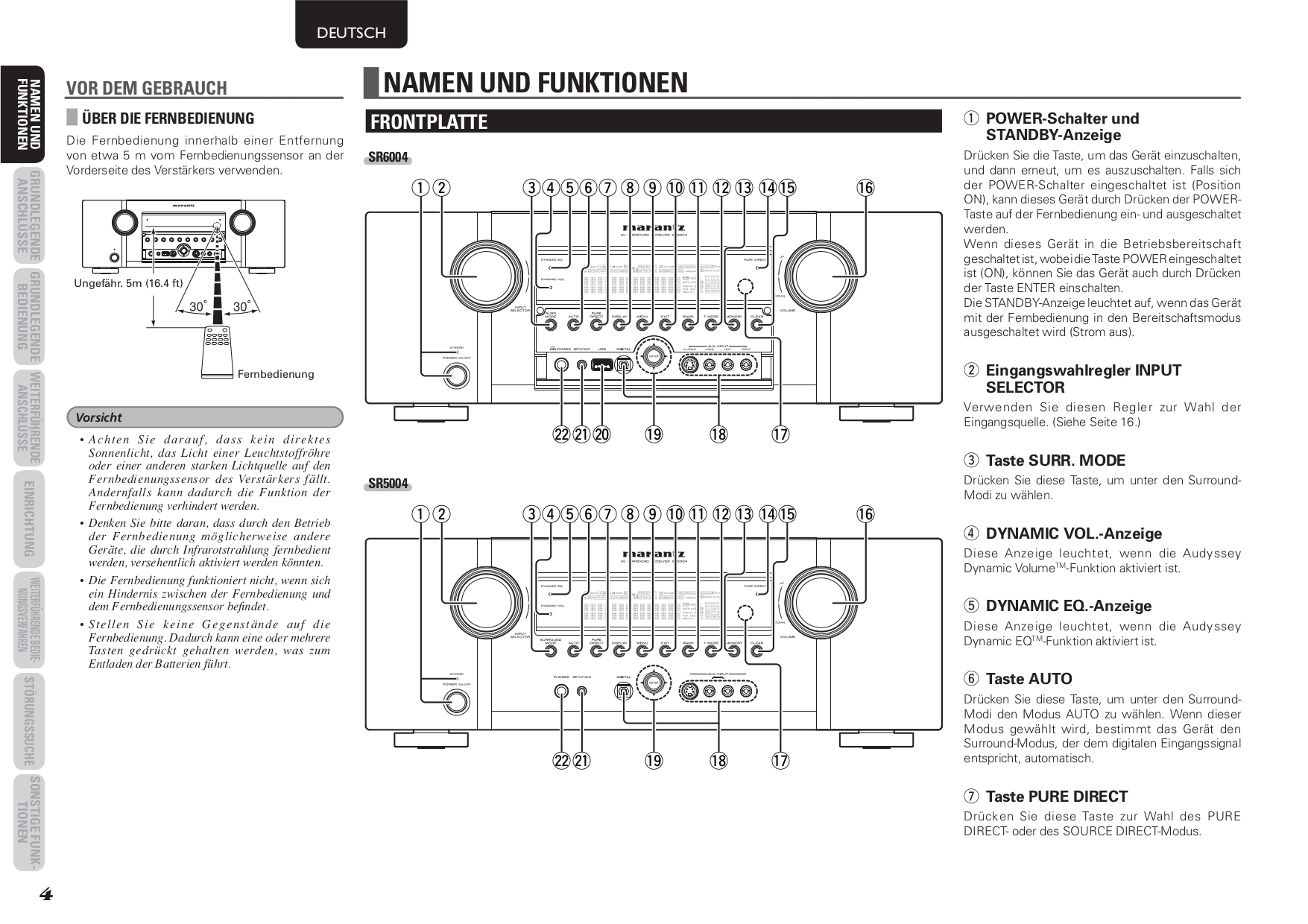 PDF manual for Marantz Receiver SR5004