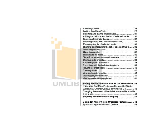 PDF manual for Creative MP3 Player ZEN ZEN MicroPhoto 8GB